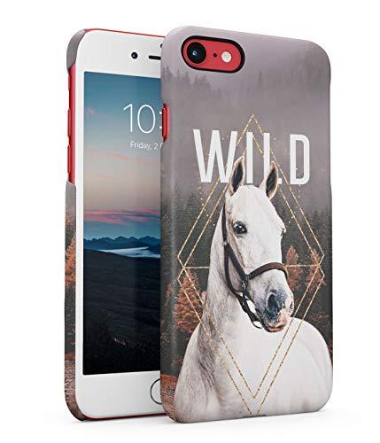 MerchCandy Funda Protectora de Plástico Duro para iPhone 7/8 / SE 2020 Caballo Citar Wild Forest Animal Horse Spirit Mustang Strength Landscape Smokes Savage Trees Funda Delgada y Ligera