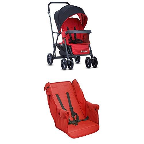 Best Deals! Joovy Caboose Too Graphite Stand-On Tandem Stroller, Red with Caboose Rear Seat, Red