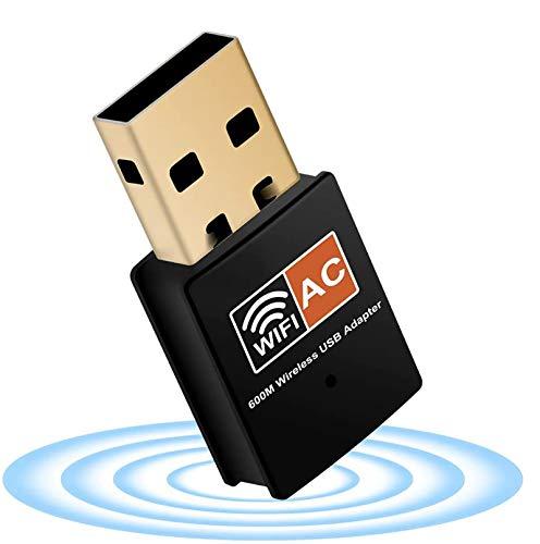 XVZ - Adattatore dongle USB per PC, WiFi 600 Mbps dual band 2.4 GHz/5 GHz veloce ad alta ricezione, antenna 802.11ac, adattatore di rete wireless per PC e laptop, supporta Windows, Mac e Linux