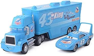 Pixar Cars Lightning McQueen The King Chick Hicks Jackson Storm Mack Trucks Hauler & Racer Metal 1:55 Loose Boy Toy Cars (The King Hauler Truck and Racer)
