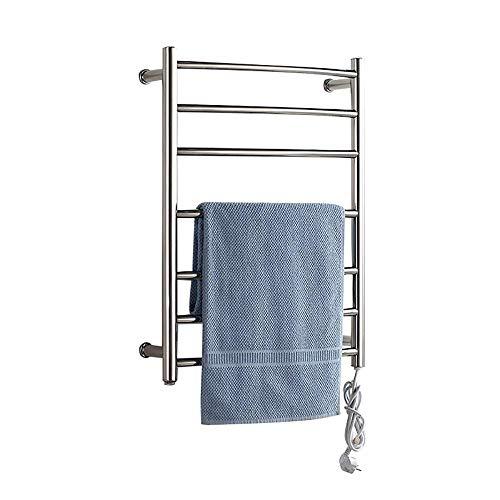 AMYZ Calentador de Toallas,toallero de Acero Inoxidable para baño con 7 Barras calefactadas Que Ahorra Espacio en la Pared para el baño,toallero calefactado de 700 x 520 x 125 mm,complemento