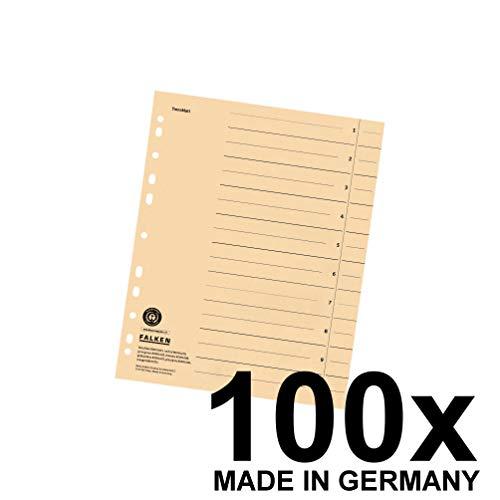 Original Falken 100er Pack Trennblätter. Made in Germany. Aus Recycling-Karton für DIN A4 chamois Trennlaschen Trennblätter Ordner Register Kalender Blauer Engel