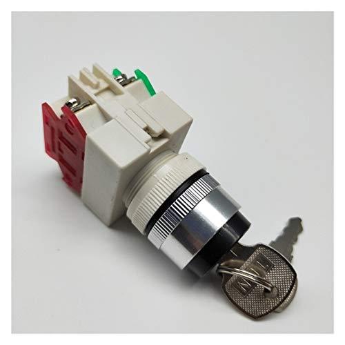 Security Accessory Botón LEY37-11Y2 / LEY37-20Y3 Clavo ROTARIO DE TECLA 2/3 Posición Interruptor de botón pulsador 1NO1NC Botón de Llave Auto-Bloqueo (Color : 2 Position NO NC)