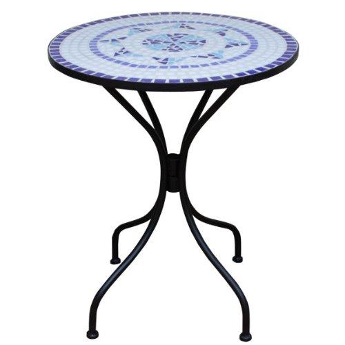 Table mosaique bleu fer forgé NEPTUNE - Table de jardin meuble terrasse balcon decoration 70x60cm