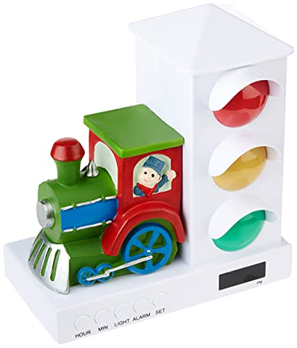 It's About Time IAT-106 Stoplight Sleep Enhancing Alarm Clock for Kids, Green/Red Train