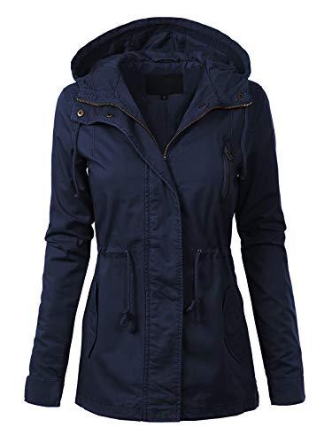 MixMatchy Women's Casual Lightweight Militray Safari Anorak Utility Hoodie Jacket Navy Blue L