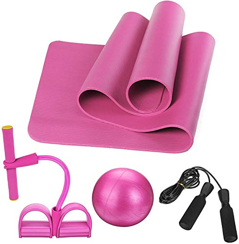 ZHANG Ejercicio Yoga Mat Yoga Kit para Principiantes Set Antideslizante Pilates Pelota Cuerda para Saltar Banda de Resistencia Esteras de Yoga Esteras de Fitness para El Hogar,Pink