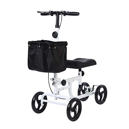 BEYOUR WALKER Folding Knee Walker for Foot Injuries with Dual Braking System Crutches Alternative, White