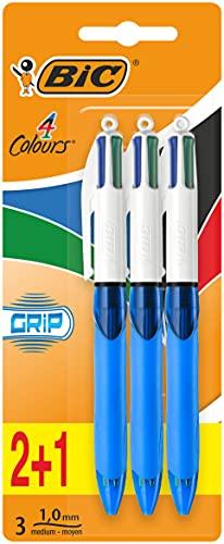 BiC 4 Colour Grip Kugelschreiber 3 Stück farblich sortiert