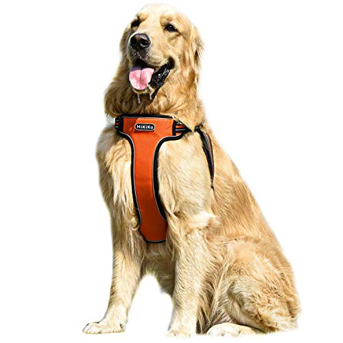 Hikiko No Pull Dog Harness, Walking Pet Harness with Dog Leash + Dog Collar Adjustable Outdoor Reflective Oxford Material Pet Vest for Dogs Easy Control for Medium to Large Breed Dogs