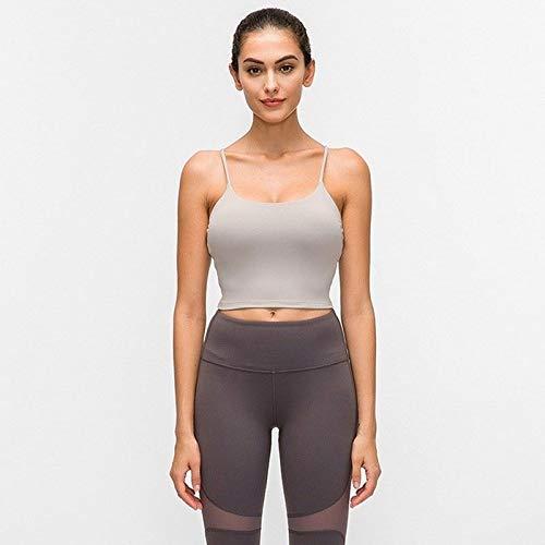 Nueva secado rápido de la aptitud acolchado sujetador, for damas, de estilo chaleco sólido Yoga Nylon Deportes del ejercicio sujetador con los cojines desprendibles ( Color : Mink Ash , Size : S )
