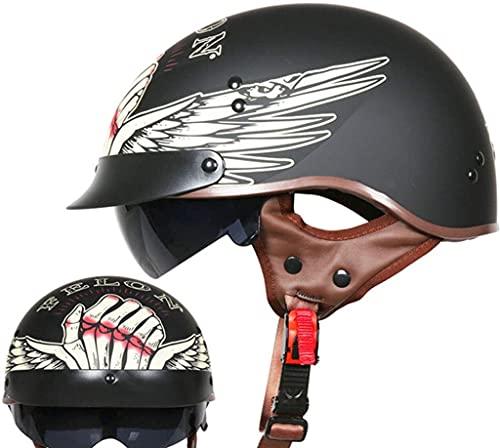 WANGFENG Casco Medio Abierto para Motocicleta con Gafas geniales, Medio Casco Retro para Motocicleta Aprobado por Dot, Transpirable Todas Las Estaciones para Adultos, Hombres y Mujeres (55-63 cm)