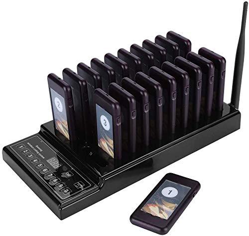 Sutinna Restaurant Call Coaster Pager, Gast wartet Pager Drahtloses Funkrufsystem 999-Kanal 20 Empfänger Pager-System für Restaurant(EU-Stecker)