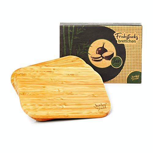 bambuswald© ökologisches 3er Set Frühstücksbrettchen/Frühstücksbretter | 100% nachhaltiger Bambus - Schneidebrett-Set Brettchen Holzbrett