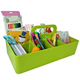 Craft Organizer, Divided Basket Storage Caddy with Handle for Crafts,Sewing,Art Supplies,Makeup, Baby Bath Supplies