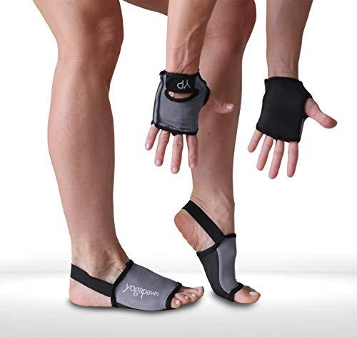 YogaPaws SkinThin Yoga Gloves and Yoga Socks, Monsoon Gray, Size 1