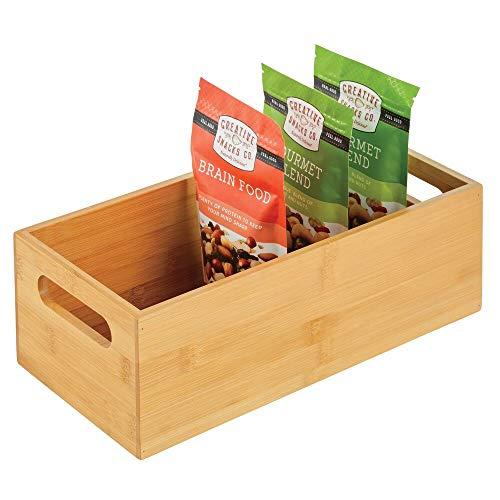 mDesign Caja organizadora para cocina – Práctico cajón de madera de bambú con asas integradas – Organizador de cocina abierto para guardar utensilios de cocina – color natural