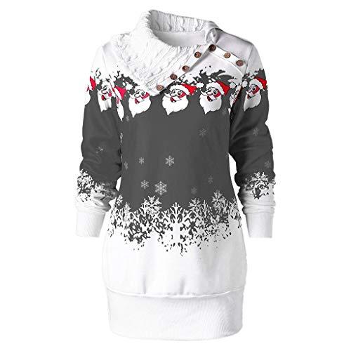ReooLy Mode Damen Large Size Fröhliches Weihnachten Frauen-Rundhalsausschnitt-Hemdchen Set Kopf Plaid-Panel Trompete Hülsen-Druck-T-Shirt Top(Grau/Small)