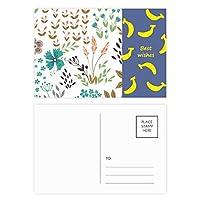 カラフルな花の植物塗料 バナナのポストカードセットサンクスカード郵送側20個