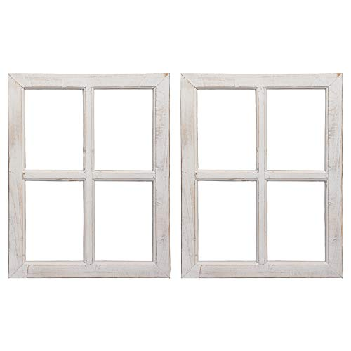 Barnyard Designs Rustic White Barn Wood Window Frames, Decorative Country Farmhouse Home Wall Decor, Wooden Window Pane for Living Room, Bedroom, or Fireplace Mantel, 18
