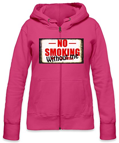 No Smoking Without Me Funny Slogan Womens Zipper Hoodie X-Large