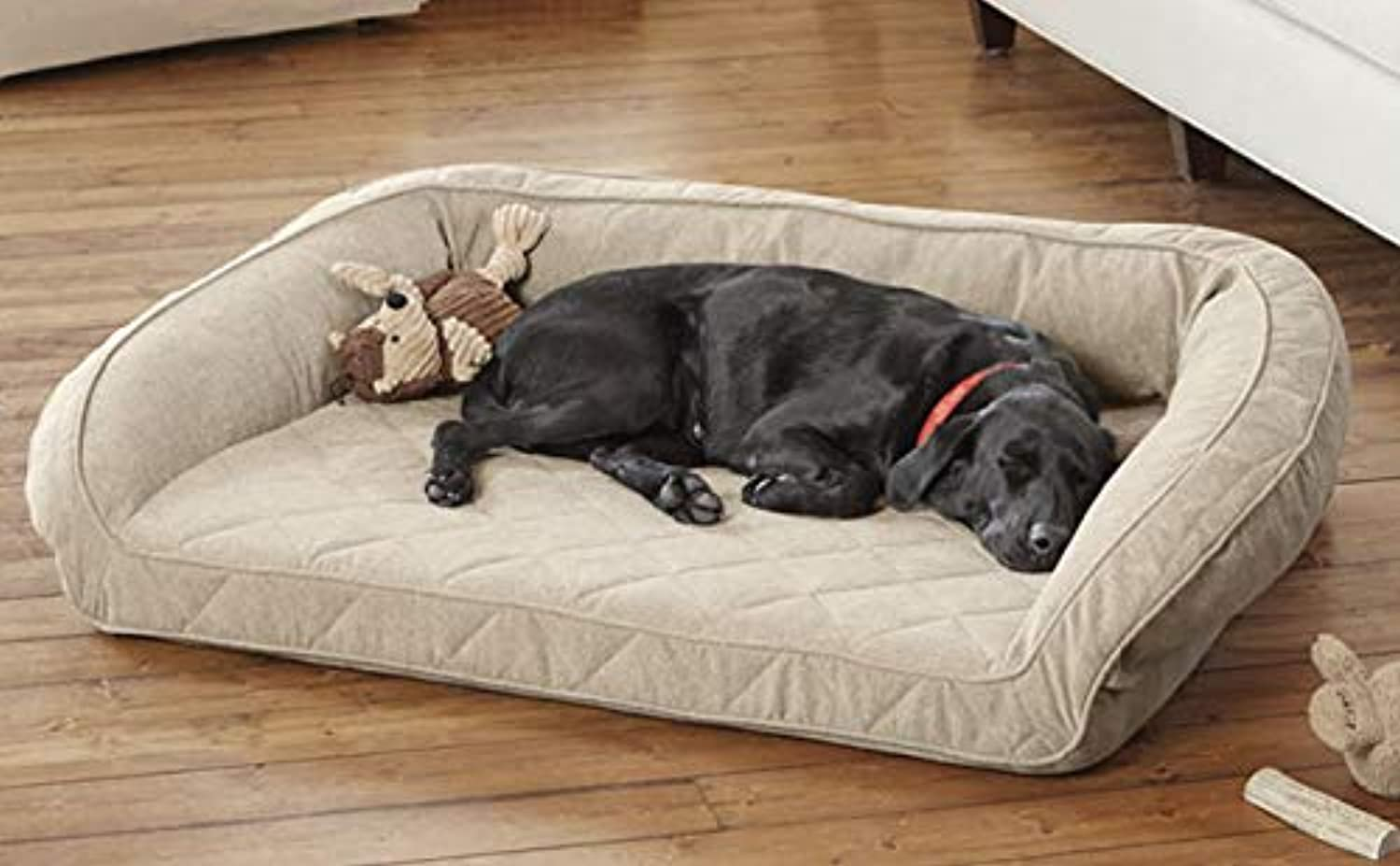 Orvis Memory Foam Bolster Dog Bed Medium Dogs Up To 1827 Kg, Heathered Khaki,