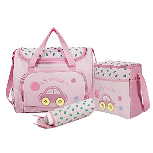 4PcsWickeltasche Pflegetasche Kinderwagen Muttertasche Babytasche Mama Tote Baby-Windel Nappie Wickeltaschen Sets Dunkelblau - Rosa