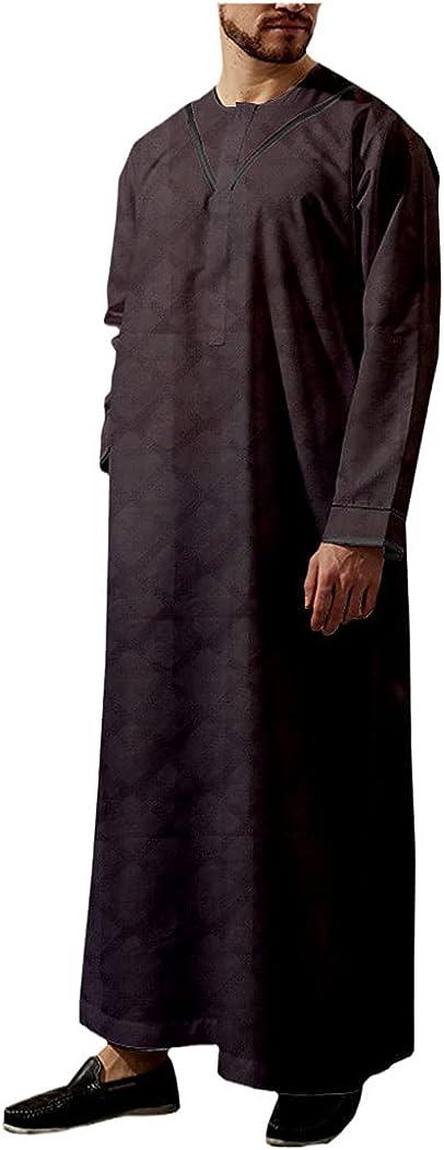 LOIUYBM Muslim Fashion Robe, Long Sleeve Saudi Arab Comfortble Thobe Jubba, Middle East Islamic Kaftan Clothing