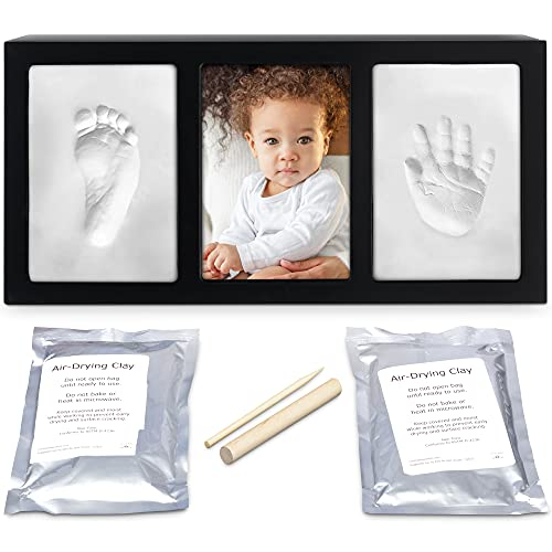 Clay Baby Hand and Footprint Kit with Photo Wall Mount Frame Kit - Inkless & Non-Toxic Baby Footprint & Handprint Keepsake for Birthdays & Family Activities (Black Frame) - Proud Baby by Luna Bean