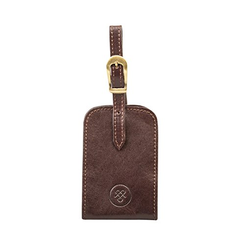 Maxwell Scott Classic Italian Leather Luggage Tag - Ledro Brown