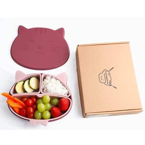 Cucopama - Silikon Babyteller mit Deckel Saugnapf, rutschfest - Kinder Geschirrset 5 Teile -BPA Frei, Made in Korea, Geeignet für Mikrowelle, Spülmaschine, Hochstuhl (Burgund)