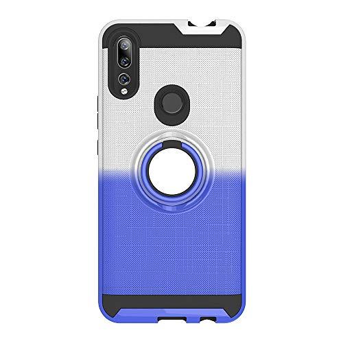 FAWUMAN Coque pour Huawei Y9 Prime (2019),Anti-Glisse 3D en résille Boîtier PC + TPU Double Layer Housse résistant aux Chocs avec Support à Anneau Rotatif à 360 degrés (Bleu-argenté)