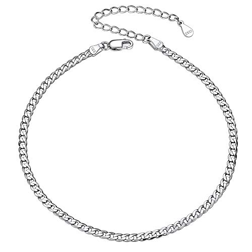 Women Anklet Silver Cuban Link Ankle Bracelet Jewelry for Bare Foot