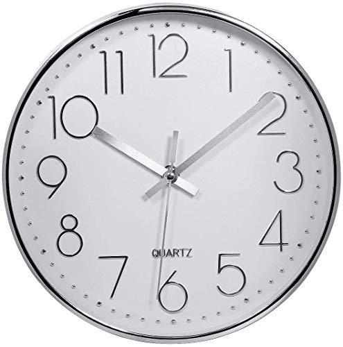 Delgeo Silver Wall Clock 10 Inch Silent Non Ticking Clock Arabic Numeral...