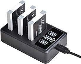 NB-6L NB-6LH Battery and 3 Slots LED Display Charger Replacement for Canon PowerShot D10 D20 ELPH 500 HS S90 S95 S120 SD770 SD980 SD1200 SD1300 SD3500 SD4000 SX540 SX530 SX500 SX170 SX260 SX270 HS