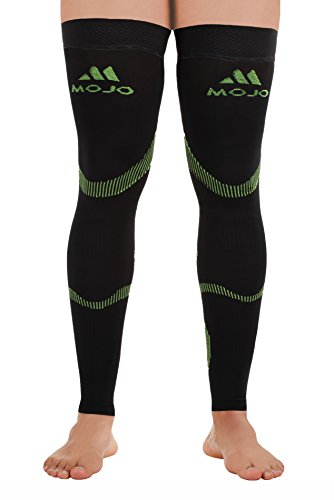 Mojo Compression Stockings 20-30mmHg Thigh Hi Leg Sleeve Graduated Support Socks Recovery for Calf & Quads - Black/Green Medium A609BG2