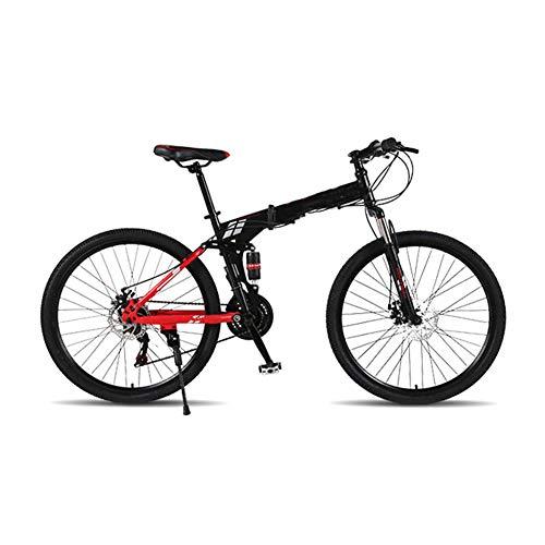 LCLLXB Bicicleta de montaña con engranajes de velocidad plegable para adultos y hombres y mujeres