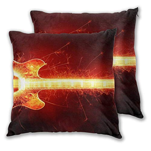 JONINOT 2 PCS 16'x16' Blazing Guitar Throw Pillow Cushion Case,Inserts are Not Included