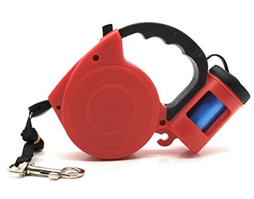 MovilCom intrekbare hondenriem met dispenser voor tassen, rekbaar van rubber, zacht handvat, 5 m band en 20 vuilniszakken