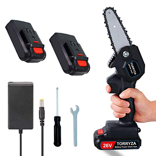 TORRYZA Mini Chainsaw 4-Inch Cordless Power Chain Saws, Portable 26V Electric Chainsaw, Pruning Shears Chainsaw for Courtyard Tree Branch Wood Cutting -Black 26V+Spare Battery
