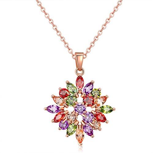 Yazilind Frauen Halskette glänzend Farbe Blume Zirkon Rose vergoldet Anhänger Kette Schmuck