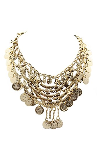 Egypt Bazar Halskette indischer Stil, als Bauchtanz, Tribal-Dance, Bollywood-Accessoire geeignet- Orientalischer-Schmuck in Gold Farbe