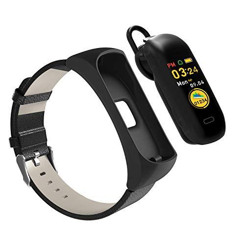HQHOME Fitness Armband, 2 in 1 Tragbare Headset-Uhr Smartwatch IP68 Wasserdicht Fitness Tracker Aktivitätstracker Sportuhr mit Schrittzähler Pulsuhren Stoppuhr für Damen Herren
