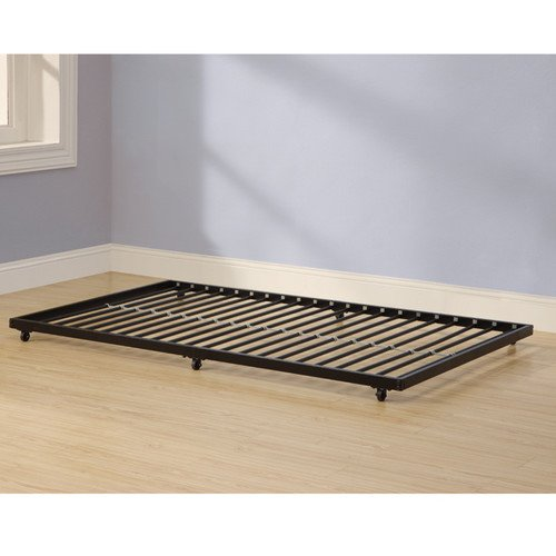 Home Accent Furnishings Twin Roll-Out Trundle Bed Frame, Black Finish, Fits Under Almost Any Bed