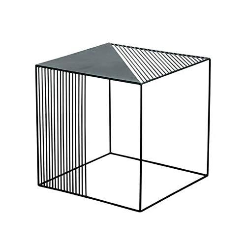 SZJ Tavolino da Salotto caffè,Tavolino Quadrato Nero Tavolino Ferro Piccolo Tavolino Divano Tavolo Angolo per Soggiorno Camera da Letto