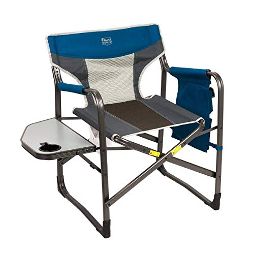 Timber Ridge Director's Chair Oversize Portable Folding Support 300lbs Utility Lightweight for Camping Breathable Mesh Back with Side Storage Bag, Side Table, Blue, Large