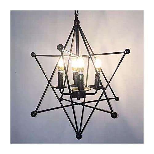 PINFU Lámpara Colgante de Techo Industrial empotrada, lámpara de Techo, lámpara de Modelado geométrico Vintage Ajustable en Altura para vestíbulo, luz de Mesa de Billar, Comedor