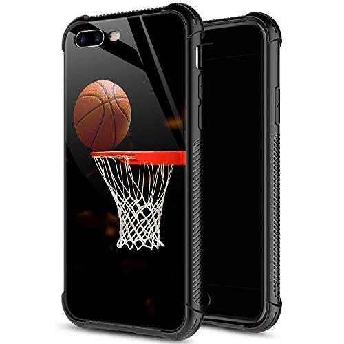 iPhone SE 2020 Hülle, gehärtetes Glas, iPhone 8 Hülle für Männer und Jungen, Basketball-Design, Druck, iPhone 7 Hüllen, stoßfest, kratzfest, Schutzhülle für Apple iPhone 7/8/SE2 11,9 cm Basketball