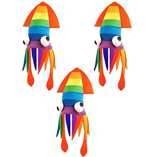 Islander Fashions Erwachsene Gay Pride Karneval Regenbogen Tintenfisch Hut Unisex Parade Multi Kost�m Hut One Size Pack von 6