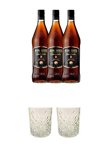 Arehucas Ron Miel mit Honig Kanarische Inseln Spanien - 3 x 0,7 Liter + Rum Glas 1 Stück + Rum Glas 1 Stück